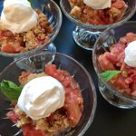 First-harvest local organic rhubarb & strawberry crumble...with whipped cream!