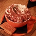 Hot chocolate with cream marshmallows and glitter
