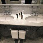 Dual vanities in bathroom