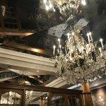 Elegant chandelier in dining room
