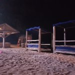 beds on the beach, you can lay here and look up at the stars