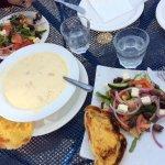 Seafood chowder & side salads