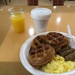 Looks good - huh? Waffles, coffee, OJ watery! Waffles:mushy. Sausage cheap greasy.