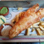 Large Fish and Chips with Pea Puree