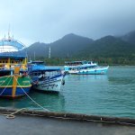 Boats lining up at Bang Bao pier
