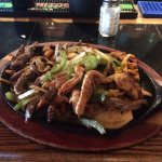 Texas Fajitas(shrimp, chicken and steak) are giant and delicious
