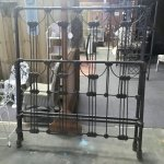 Solid heavy ornate iron bed