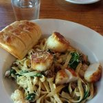 Scallops and shrimp fettuccine.