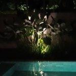 villa pool by night