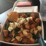 Brett's burger and creamed corn (best side), Monte Cristo, Asian chicken salad