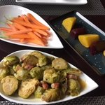 Carrots, beets, Brussels sprouts with lardon