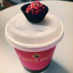 Hot chocolate 70% with complimentary raspberry truffle(?)