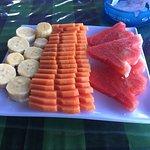 Breakfast- omelette and fruit plate
