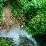 Rappelling down a waterfall with Pure Trek Tours