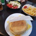 Presa Cheeseburger, Greek Salad & Fries.