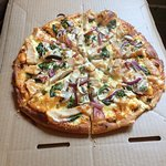 Pizzas, menu and dessert