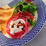 Our beautiful starter of creamy Burrata and Prosciutto
