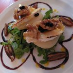 Starter - Pear with goat's cheese, rocket, dates, walnuts and balsamic honey glaze.