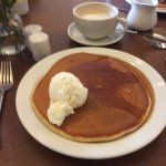 Pancake with maple syrup and ice cream