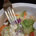 Salad+dressing were very sloppy, how can this be even served to customer at such establishment??