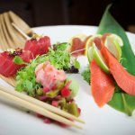Sashimi Platter - Ahi, Albacore & Salmon, Yuzu, Toasted Saguaro Seeds, Pickled Japanese Ginger