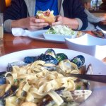 Seafood Fettuccine & The Woodfire Burger with caesar salad