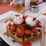 Amazing strawberry delight waffle. Definitely enough for two. Lovely treat after shopping.