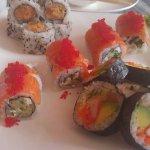 Spicy salmon, Philidelphia and California rolls