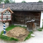 Farmhouse with pigeon cot and manure pile