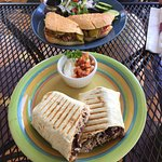 Black bean burrito with port and Cuban Panino