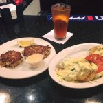 Crab cake appetizer and fried green tomato appetizer