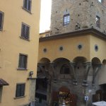 Medici Corridor as it turns the corner at the end of Ponte Vecchio taken from the window of our
