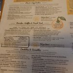 Breakfast page of the menu.