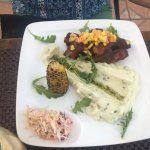 Tamarind BBQ Ribs with mashed potatoes, roasted corn, and slaw!
