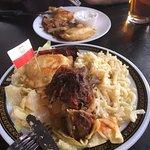 Platter with tolabki, haluski & kluski + plate of pierogis