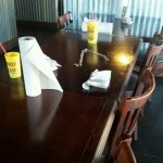 The place is a mess; tables dirty, windows filthy, floor a mess.