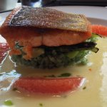 Seared Lois Lake steelhead - grilled asparagus, micro greens, bamboo rice, grapefruit sections