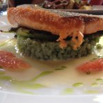 Seared Lois Lake steelhead - grilled asparagus, micro greens, bamboo rice, graperuit sections
