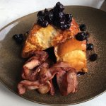 French Toast with Blueberries and Bacon