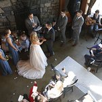 Looking down from the upstairs eating loft to the wedding ceremony