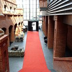 The red carpet in the Blow Up Hall's breathtaking lobby space.
