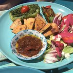 Prickly pear, bread, chutney and other veg