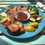 Bread, aubergine, chutney and other veg