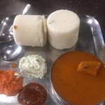 A different variety of Idly with more rava in it, served with mangalore style sambar !