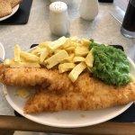 Saturday lunch medium haddock chips and peas