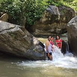 Having fun at the natural pool in the river