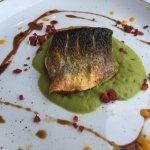 Sea bass on a pea mousse (barely any chorizo).