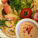 Fresh summer  crab salad and samphire with our tasty seafood mayonnaise