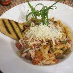 Rasta Man pasta with chicken and garlic bread