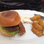 Elk burger, fries, and cole slaw